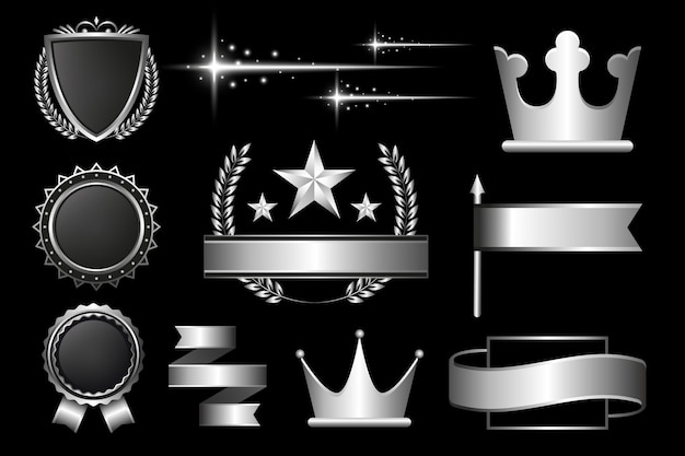 Ontwerpbundel met gradiënt zilveren luxe elementen