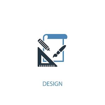 Ontwerpconcept 2 gekleurd icoon. eenvoudige blauwe elementenillustratie. ontwerp concept symbool ontwerp. kan worden gebruikt voor web- en mobiele ui/ux