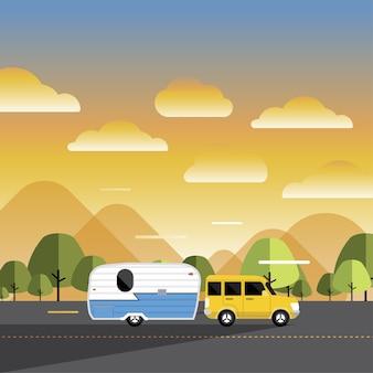 Ontwerpconcept camperreisdagboek met rv cars