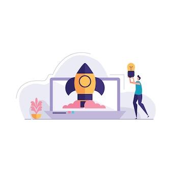 Ontwerpconcept startup illustratie