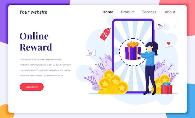 Ontwerpconcept van de bestemmingspagina van online beloning, een vrouw ontvangt een geschenkdoos van het online loyaliteitsprogramma en een bonus