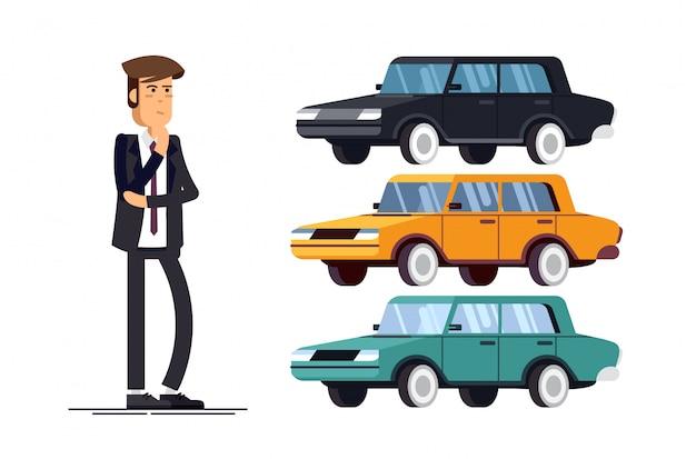 Ontwerpconcept van keuze auto en kopen.