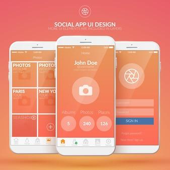 Ontwerpconcept van mobiele sociale applicatie met verschillende webelementen illustratie