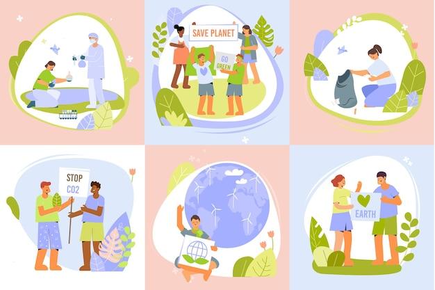 Ontwerpconcept voor milieubescherming met set van zes save earth-composities met menselijke karakters