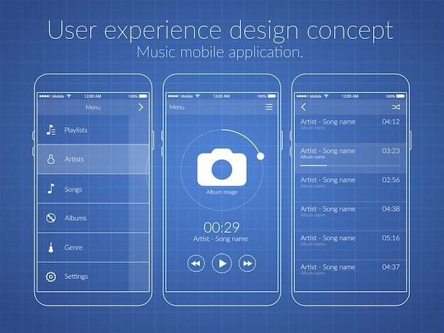 Ontwerpconcept voor mobiele gebruikerservaring met verschillende schermen en webelementen