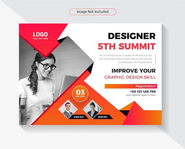 Ontwerpconferentie horizontaal flyer template