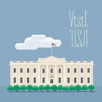Ontwerpelement met het huis van de amerikaanse president voor het concept van reizen naar amerika