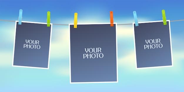 Ontwerpelement van hemel op achtergrond en lege frames voor foto of afbeeldingen