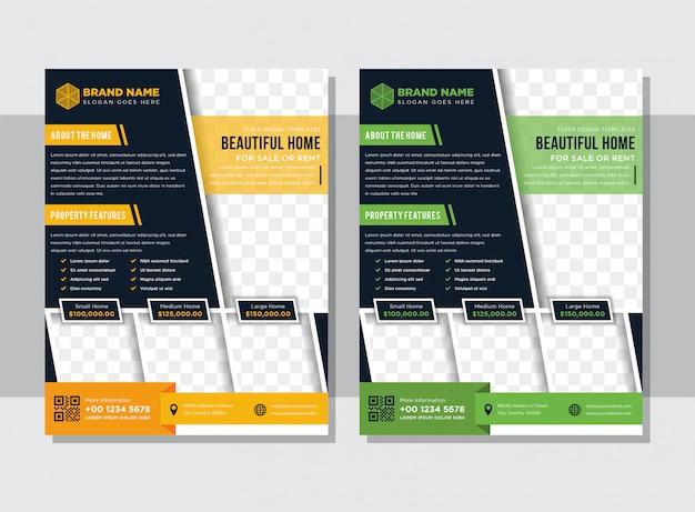 Ontwerpelement voor onroerend goed concept in horizontale lay-out flyer. modern abstract geometrie achtergrondmalplaatje met diagonale ruimte voor foto.