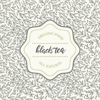 Ontwerpelementen van hand getrokken patroon in trendy lineaire stijl voor theepakket voor zwarte thee.