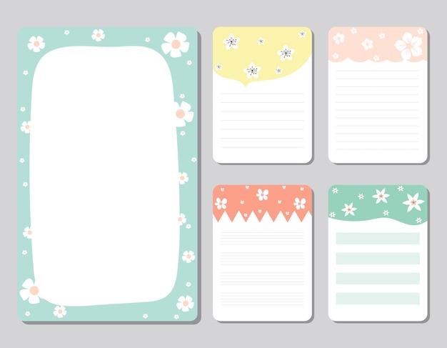 Ontwerpelementen voor notebook, dagboek, stickers en andere sjabloon
