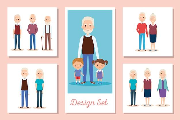 Ontwerpen set scènes van grootouders met kleinkinderen