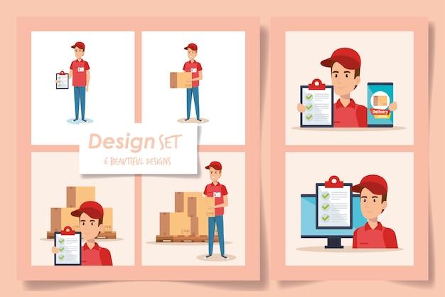 Ontwerpen van bezorgservice met werknemers en pictogrammen