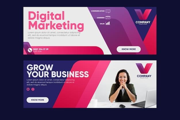 Ontwerpen van digitale marketingbanners Premium Vector