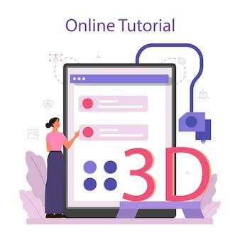 Ontwerper 3d-modellering van online service of platform