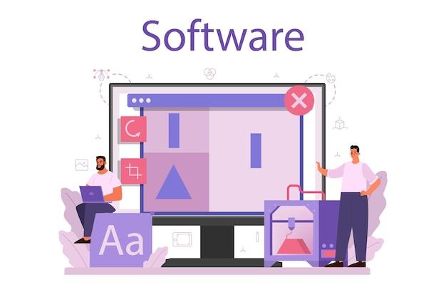 Ontwerper 3d-modellering van online service of platform.