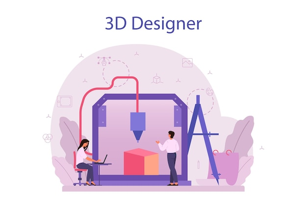 Ontwerper 3d-modelleringsconcept. digitaal tekenen met elektronische gereedschappen en apparatuur. 3d-printerapparatuur en engineering. moderne prototyping en constructie. geïsoleerde vectorillustratie