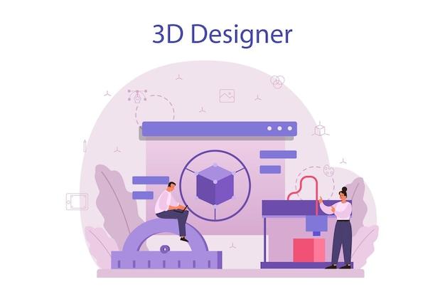 Ontwerper 3d-modelleringsconcept