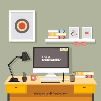 Ontwerper bureau met professionele stijl