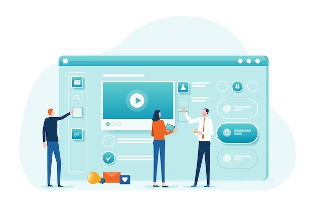 Ontwerper en ontwikkelaarsteam samenwerking werken en zakelijke teamvergadering