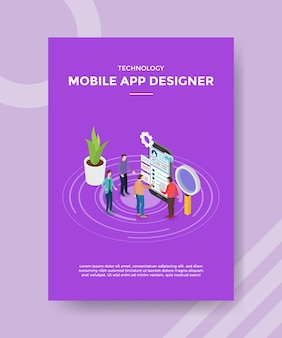Ontwerper van mobiele apps teamwerk samenwerking bouw softwareapplicatie voor sjabloon van flyer