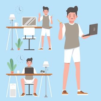 Ontwerper werkende ideeën op zijn laptop