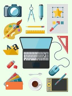 Ontwerper werkplek pictogrammen
