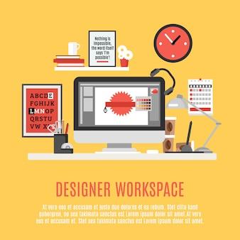 Ontwerper werkruimte illustratie
