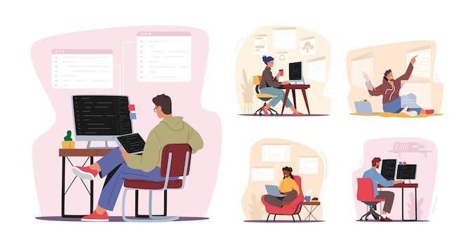 Ontwerperpersonages die aan computercodering werken
