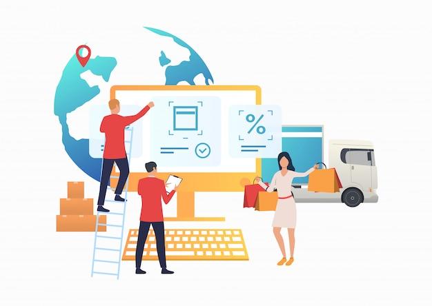 Ontwerpers die werken op de internetwinkelwebsite