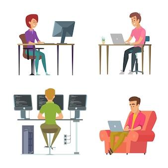 Ontwerpers en programmeurs op het werk