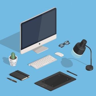 Ontwerpers isometrisch vector workspace illustratie