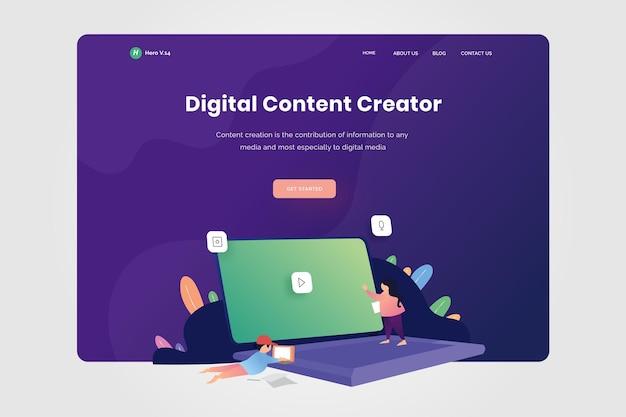 Ontwerpillustratie van bestemmingspagina digital content creator