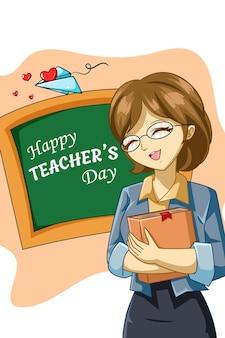 Ontwerpkarakter van de cartoonillustratie van de gelukkige leraarsdag