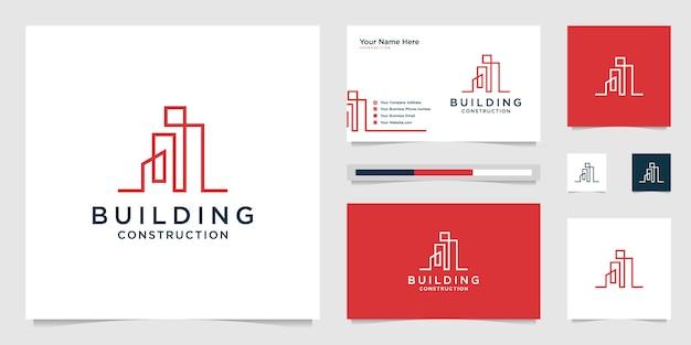 Ontwerplogo's bouwen met lijnen. bouw, appartement en architect.