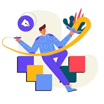 Ontwerpontwikkeling illustrator vlakke afbeelding
