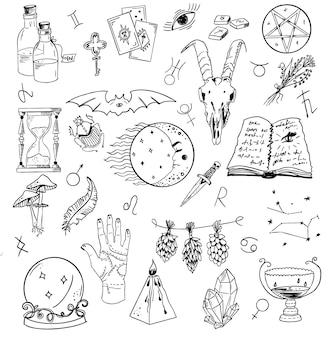 Ontwerpset met grafische tekeningen van mystici en religies en duivelssymbolen