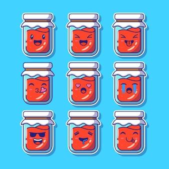 Ontwerpset van aardbeienjam of gelei mascotte emoji.