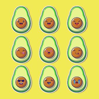Ontwerpset van schattige avocado mascotte emoji.