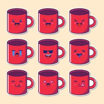 Ontwerpset van schattige koffie in een mok mascotte emoji.