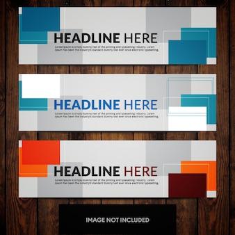 Ontwerpsjablonen voor bedrijfsbanners met blauwe en oranje rechthoeken