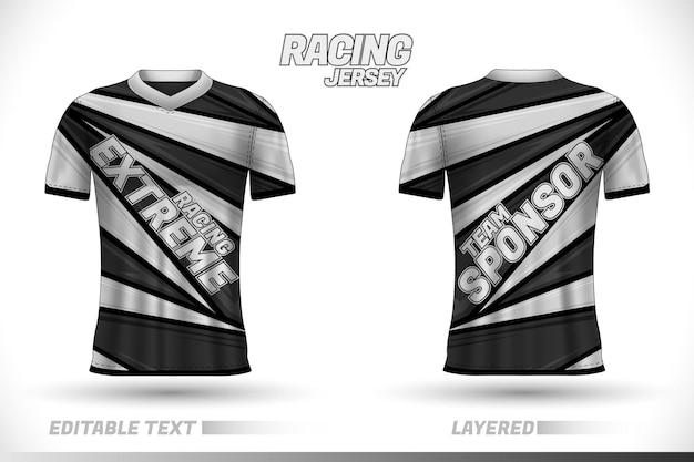 Ontwerpsjablonen voor sportracetrui voorzijde achter t-shirtontwerp