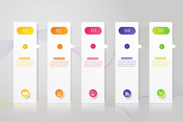Ontwerpsjabloon bedrijf 5 opties infographic grafiekelement.