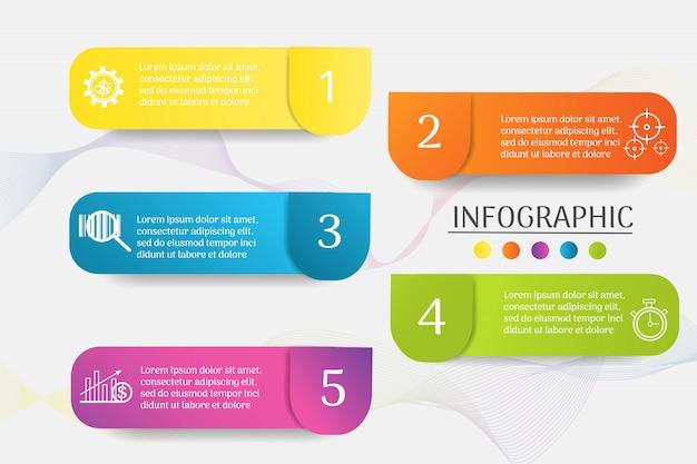Ontwerpsjabloon bedrijf 5 stappen infographic grafiekelement.