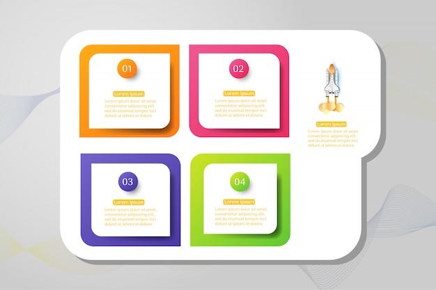 Ontwerpsjabloon business 4 opties infographic grafiekelement.