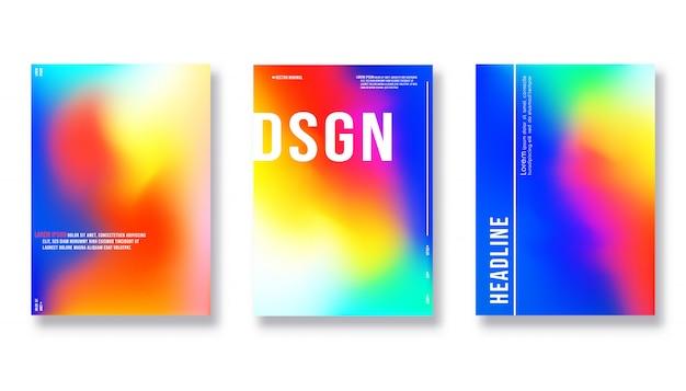 Ontwerpsjabloon dekking - kleurovergang kleurrijke achtergrond Premium Vector