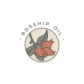 Ontwerpsjabloon en embleem - gezonde en cosmetische olie. rozenbottel natuurlijke, biologische olie. kleurrijk logo in trendy lineaire stijl.