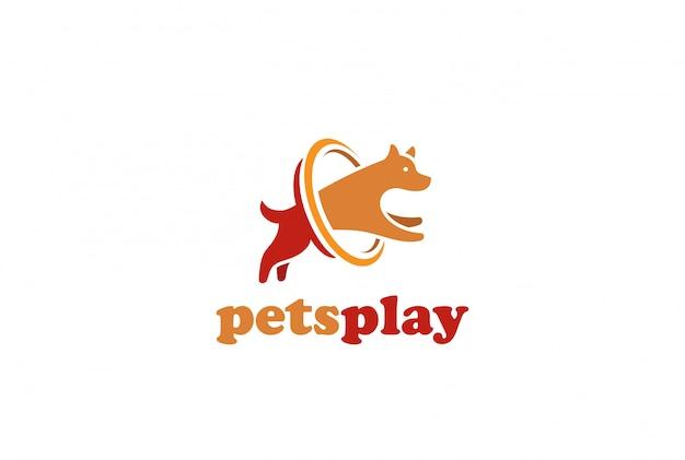 Ontwerpsjabloon hond springen logo. huisdieren opslaan veterinaire kliniek logotype concept pictogram.