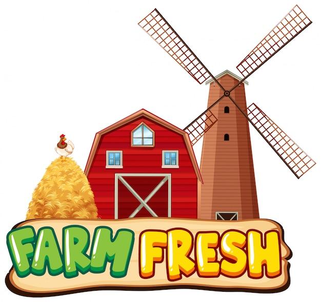 Ontwerpsjabloon lettertype voor boerderij vers met schuur en windmolen