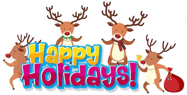 Ontwerpsjabloon lettertype voor prettige feestdagen met rendieren